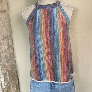 Rainbow Striped Halter Tank Top